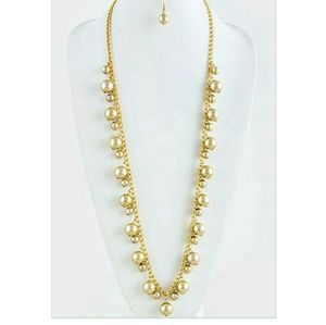 Shiny Gold Finish Acrylic Ball Link Long Necklace